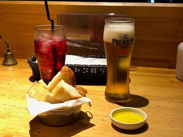 生ビール クランベリージュース