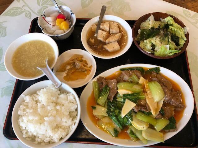 中華野菜と牛肉の炒めセット